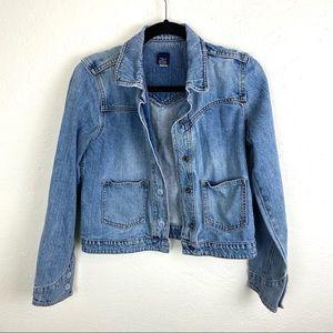 GAP Jeans Jacket Snap Buttons Slight Distress Med